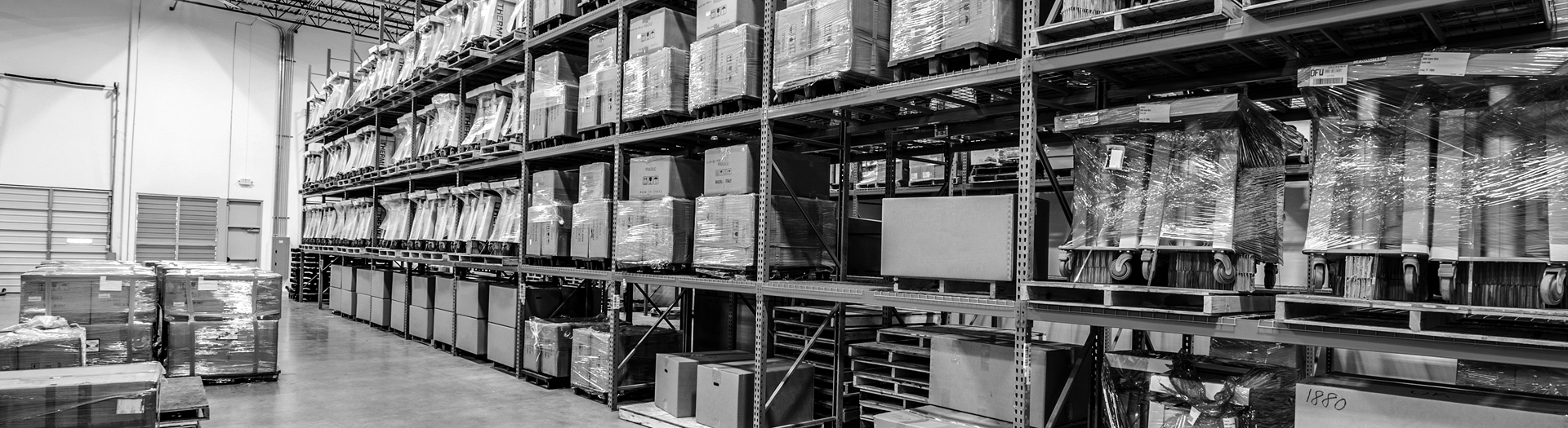 View of shelving at the Dove Logistics Warehouse
